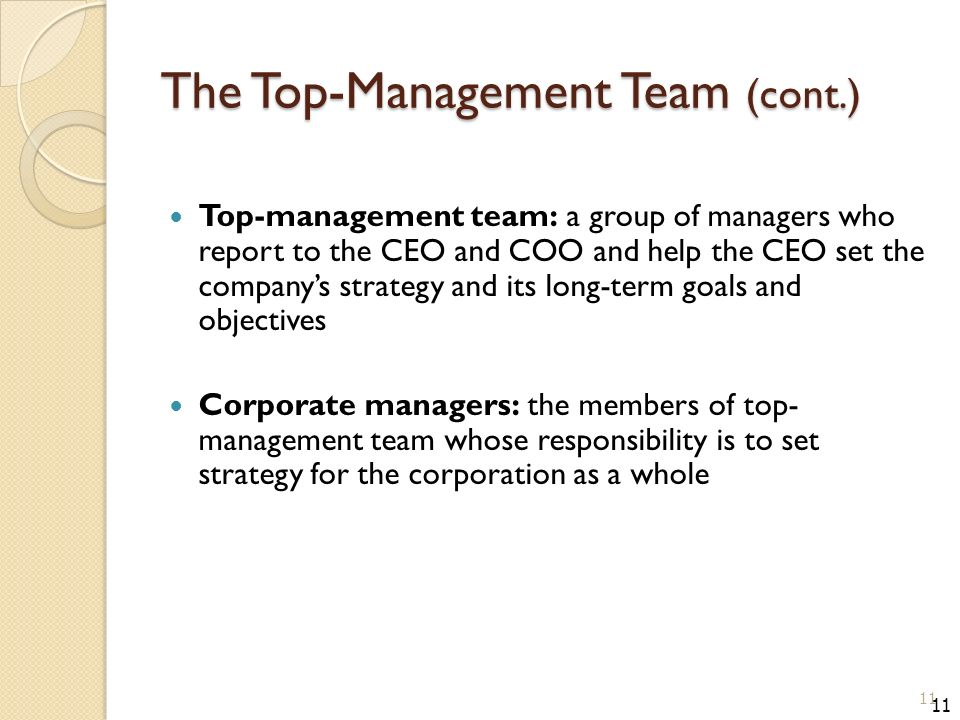 The Top-Management Team (cont.) Top-management team: a group of managers who report to the CEO and COO and help the CEO set the company's strategy and its long-term goals and objectives Corporate managers: the members of top- management team whose responsibility is to set strategy for the corporation as a whole 11