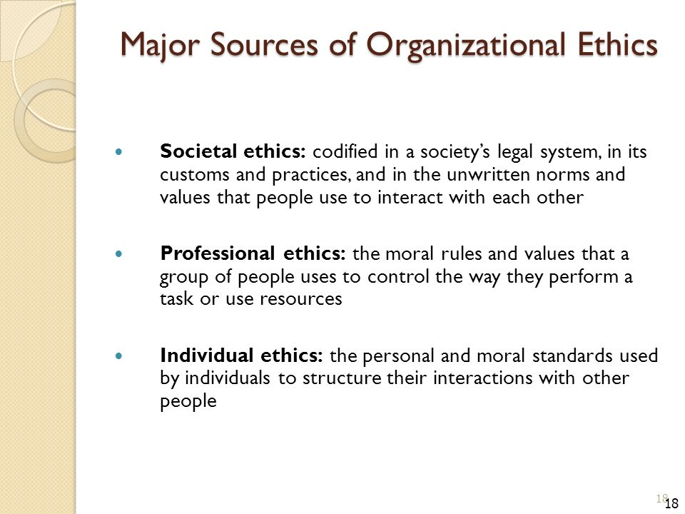 Major Sources of Organizational Ethics Societal ethics: codified in a society's legal system, in its customs and practices, and in the unwritten norms and values that people use to interact with each other Professional ethics: the moral rules and values that a group of people uses to control the way they perform a task or use resources Individual ethics: the personal and moral standards used by individuals to structure their interactions with other people 18