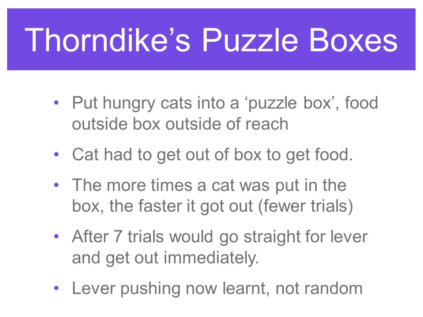 Thorndike's Puzzle Boxes Put hungry cats into a 'puzzle box', food outside box outside of reach Cat had to get out of box to get food.