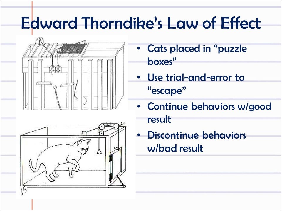 Edward Thorndike's Law of Effect Cats placed in puzzle boxes Use trial-and-error to escape Continue behaviors w/good result Discontinue behaviors w/bad result