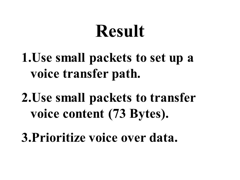 Result 1.Use small packets to set up a voice transfer path.
