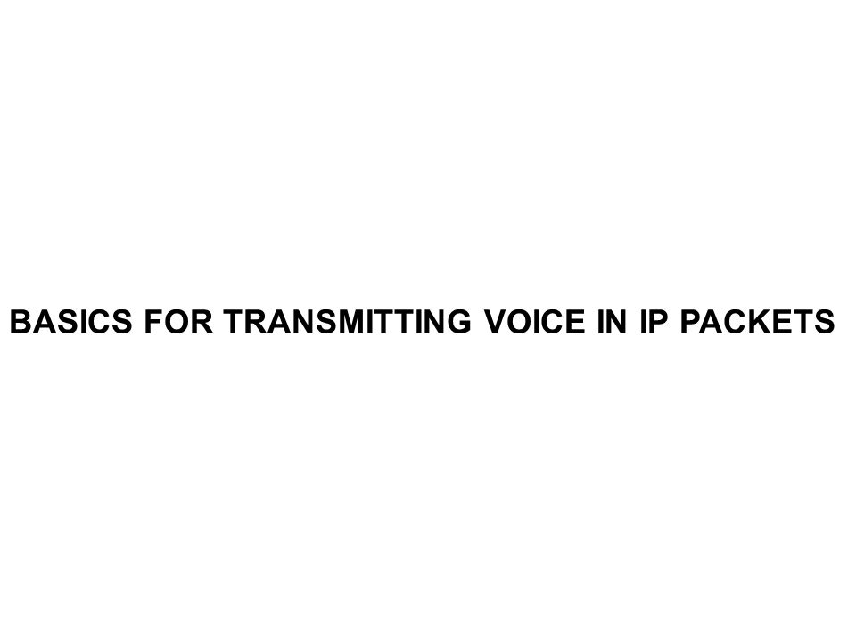 BASICS FOR TRANSMITTING VOICE IN IP PACKETS
