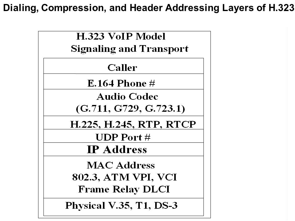 Dialing, Compression, and Header Addressing Layers of H.323
