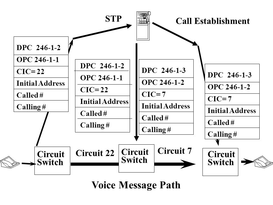 Circuit Switch Voice Message Path STP Call Establishment Circuit Switch Circuit 22 Circuit 7 DPC 246-1-2 OPC 246-1-1 CIC= 22 Initial Address Called # Calling # DPC 246-1-3 OPC 246-1-2 CIC= 7 Initial Address Called # Calling # DPC 246-1-2 OPC 246-1-1 CIC= 22 Initial Address Called # Calling # DPC 246-1-3 OPC 246-1-2 CIC= 7 Initial Address Called # Calling #