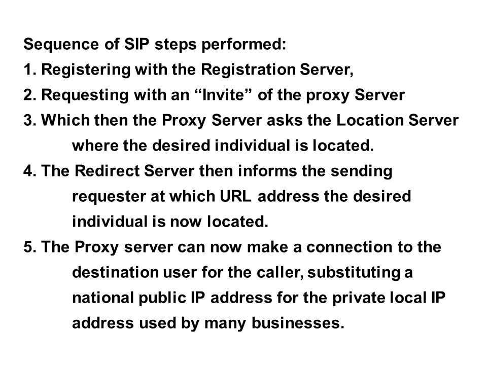 Sequence of SIP steps performed: 1. Registering with the Registration Server, 2.