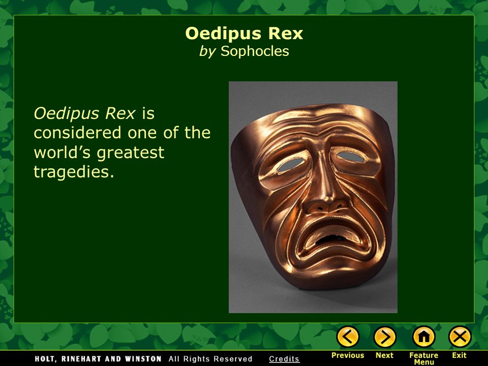 oedipus the king by sophocles essay Title: length color rating : oedipus and creon in sophocles' oedipus the king essay - oedipus and creon in sophocles' oedipus the king at first glance, oedipus and creon are two very different people.