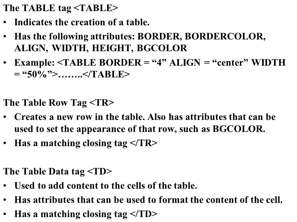 The TABLE tag Indicates the creation of a table.  sc 1 st  SlidePlayer & HTML II. Factors to consider in designing a website. Organizing your ...