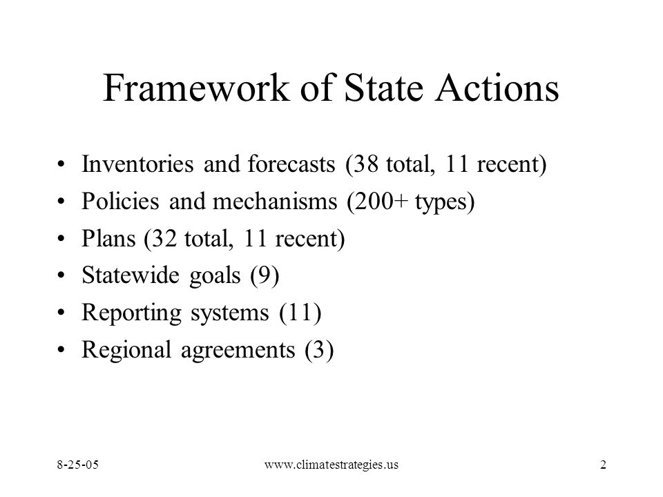 www.climatestrategies.us2 Framework of State Actions Inventories and forecasts (38 total, 11 recent) Policies and mechanisms (200+ types) Plans (32 total, 11 recent) Statewide goals (9) Reporting systems (11) Regional agreements (3)