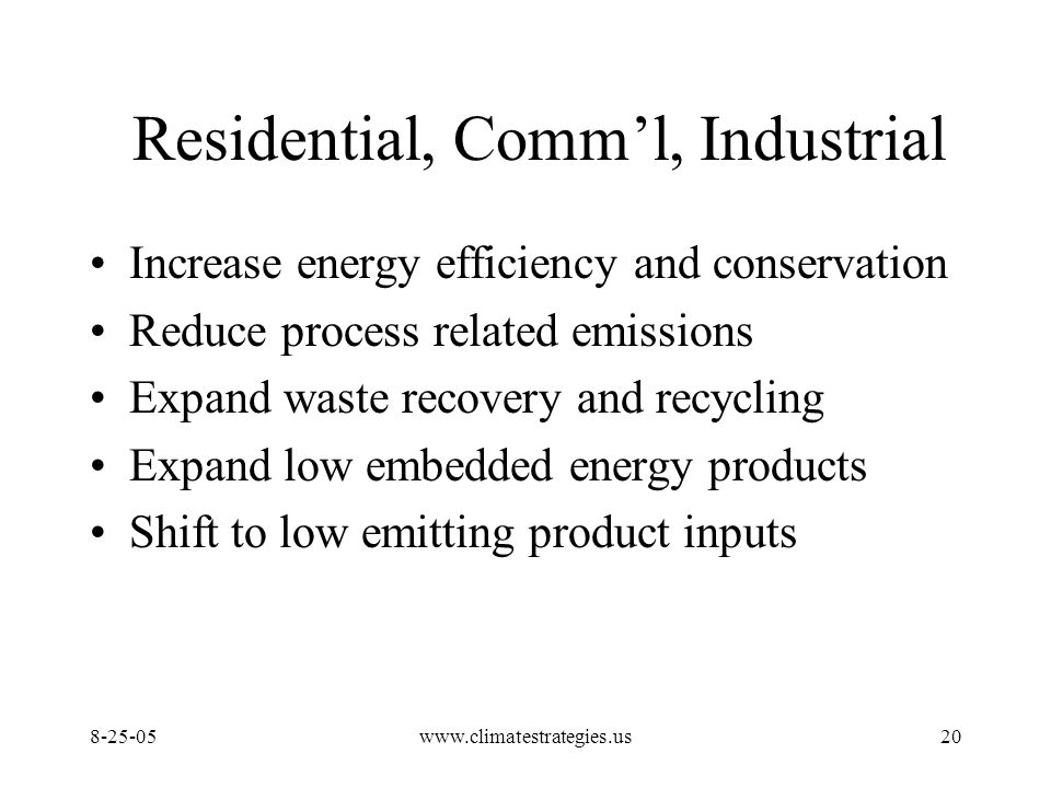 www.climatestrategies.us20 Residential, Comm'l, Industrial Increase energy efficiency and conservation Reduce process related emissions Expand waste recovery and recycling Expand low embedded energy products Shift to low emitting product inputs