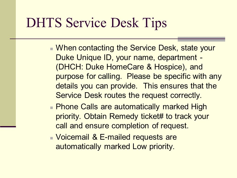 Dhts Service Desk Tips When Contacting The State Your Duke Unique Id