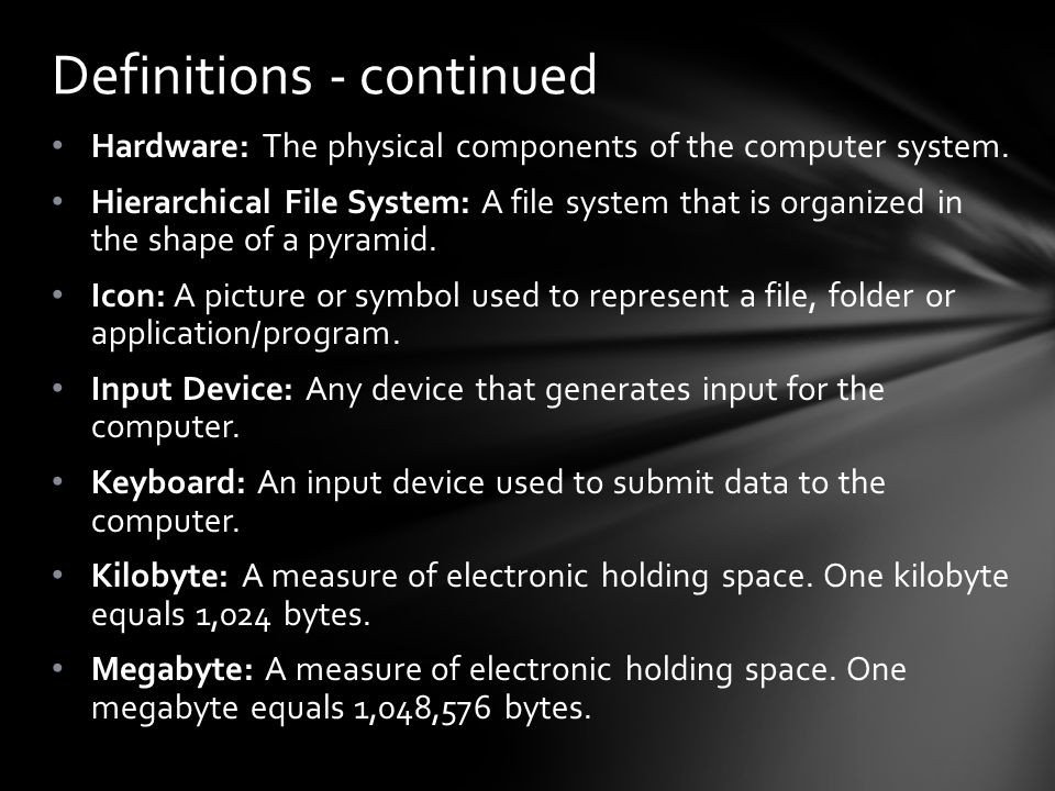 Hardware: The physical components of the computer system.