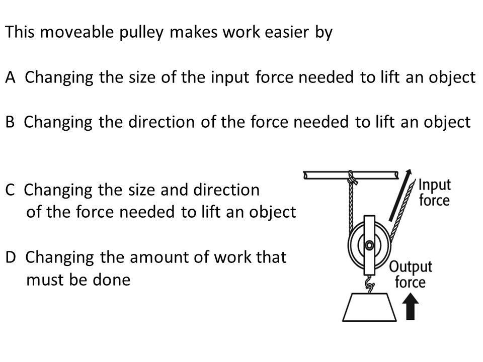 A fixed pulley is shown. A fixed pulley can make work easier by A.