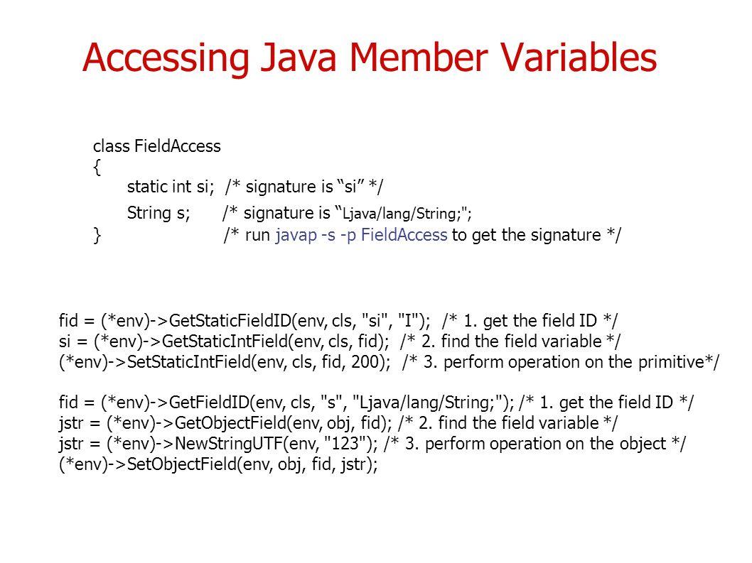Accessing java member variables fid env getstaticfieldid env