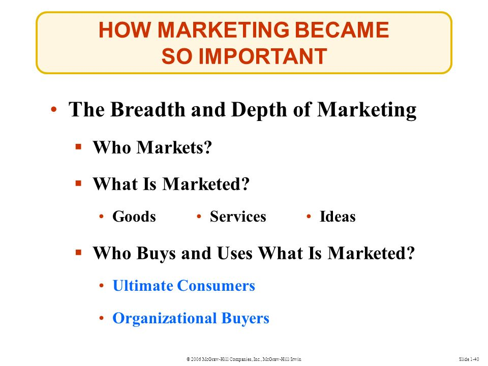 © 2006 McGraw-Hill Companies, Inc., McGraw-Hill/IrwinSlide 1-40 The Breadth and Depth of Marketing  Who Markets.