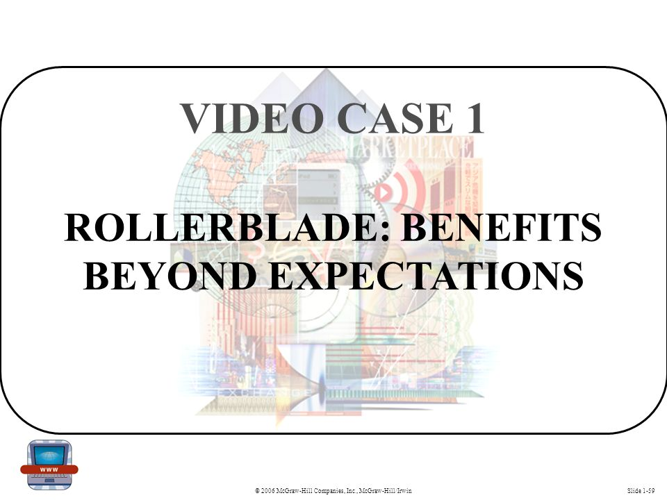 © 2006 McGraw-Hill Companies, Inc., McGraw-Hill/IrwinSlide 1-59 ROLLERBLADE: BENEFITS BEYOND EXPECTATIONS VIDEO CASE 1