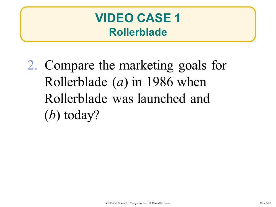 © 2006 McGraw-Hill Companies, Inc., McGraw-Hill/IrwinSlide 1-62 VIDEO CASE 1 Rollerblade 2.