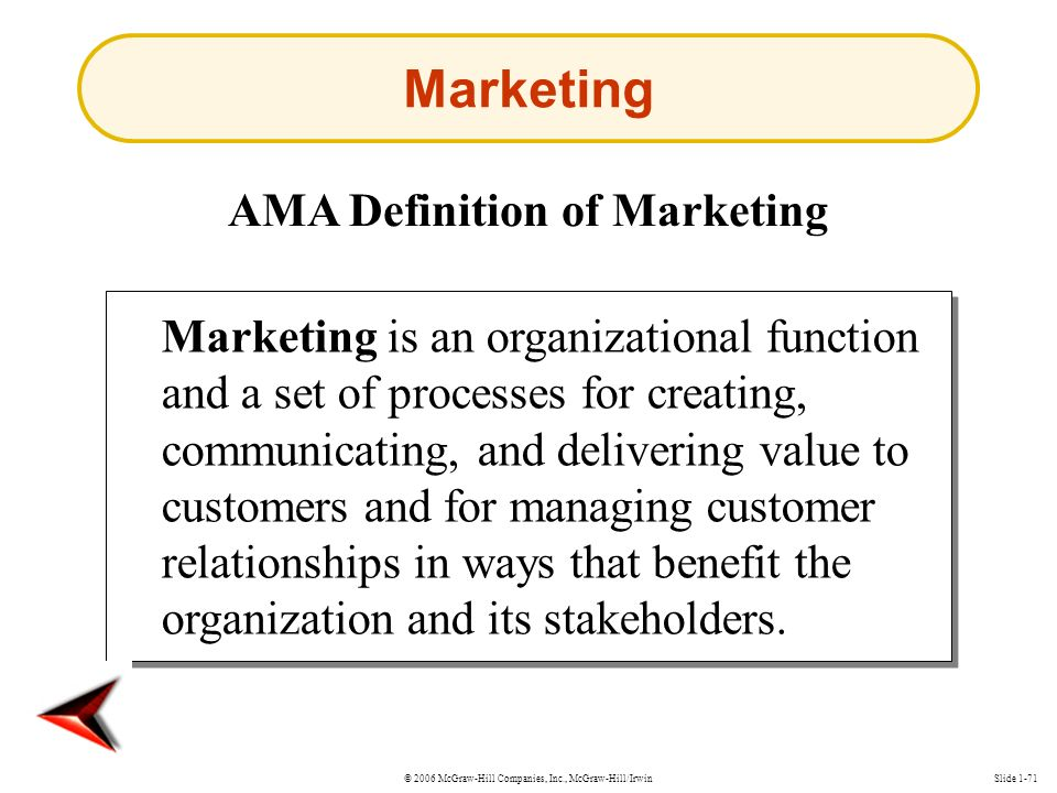 © 2006 McGraw-Hill Companies, Inc., McGraw-Hill/IrwinSlide 1-71 Marketing AMA Definition of Marketing Marketing is an organizational function and a set of processes for creating, communicating, and delivering value to customers and for managing customer relationships in ways that benefit the organization and its stakeholders.