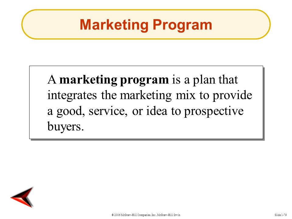 © 2006 McGraw-Hill Companies, Inc., McGraw-Hill/IrwinSlide 1-79 A marketing program is a plan that integrates the marketing mix to provide a good, service, or idea to prospective buyers.