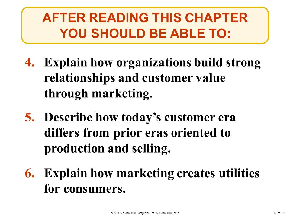 © 2006 McGraw-Hill Companies, Inc., McGraw-Hill/IrwinSlide 1-4 AFTER READING THIS CHAPTER YOU SHOULD BE ABLE TO: 4.Explain how organizations build strong relationships and customer value through marketing.