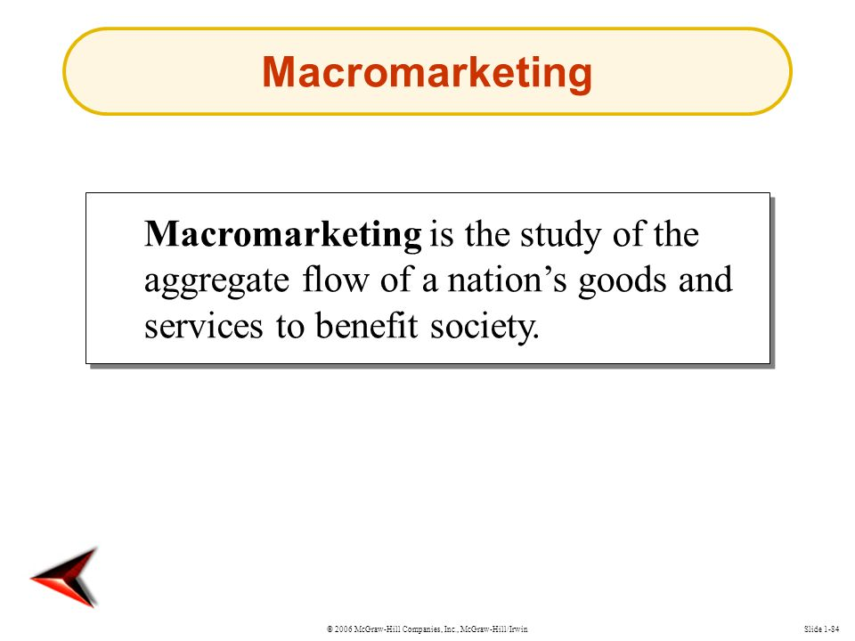 © 2006 McGraw-Hill Companies, Inc., McGraw-Hill/IrwinSlide 1-84 Macromarketing is the study of the aggregate flow of a nation's goods and services to benefit society.