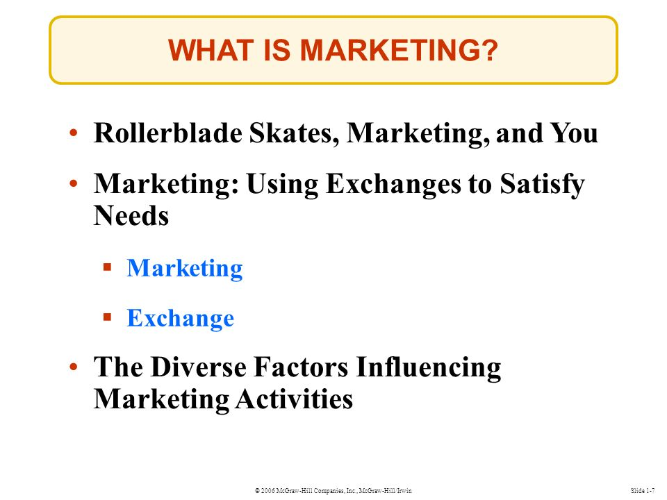© 2006 McGraw-Hill Companies, Inc., McGraw-Hill/Irwin WHAT IS MARKETING.