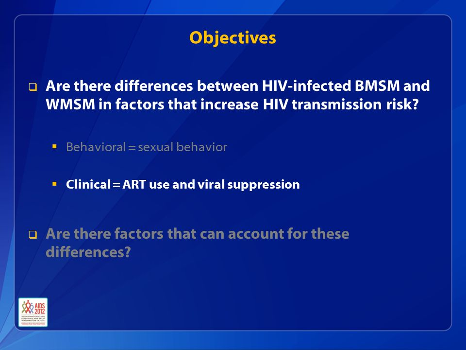 Objectives  Are there differences between HIV-infected BMSM and WMSM in factors that increase HIV transmission risk.