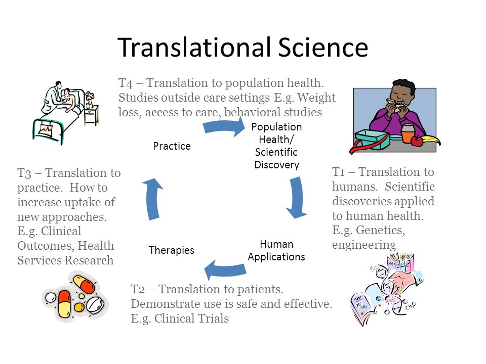 Translational Science Population Health/ Scientific Discovery Human Applications Therapies Practice T1 – Translation to humans.