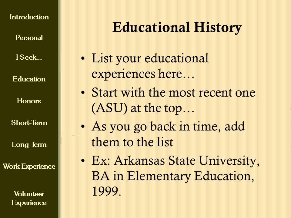 introduction personal i seek education honors short term long