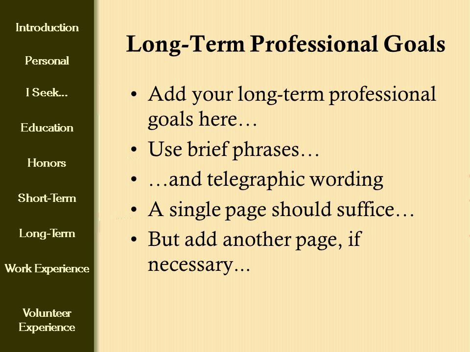 professional short term goals