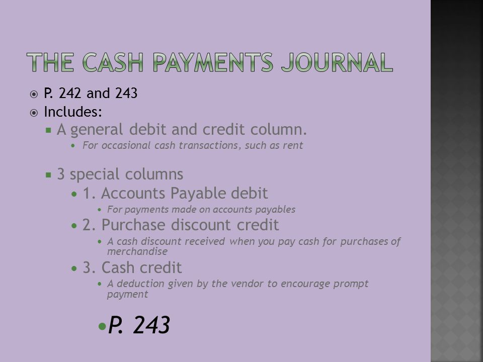  P. 242 and 243  Includes:  A general debit and credit column.