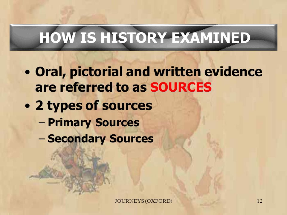 JOURNEYS (OXFORD)12 SOURCESOral, pictorial and written evidence are referred to as SOURCES 2 types of sources –Primary Sources –Secondary Sources HOW IS HISTORY EXAMINED