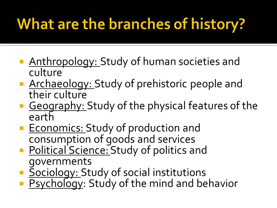 Anthropology: Study of human societies and culture  Archaeology: Study of prehistoric people and their culture  Geography: Study of the physical features of the earth  Economics: Study of production and consumption of goods and services  Political Science: Study of politics and governments  Sociology: Study of social institutions  Psychology: Study of the mind and behavior