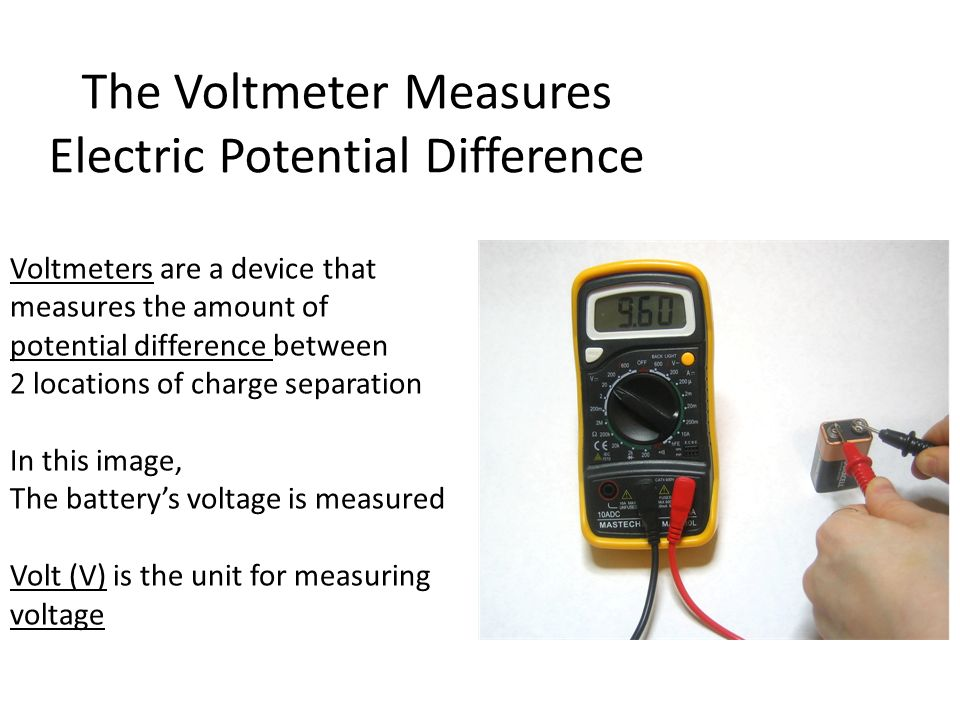 The Voltmeter Measures Electric Potential Difference Voltmeters are a device that measures the amount of potential difference between 2 locations of charge separation In this image, The battery's voltage is measured Volt (V) is the unit for measuring voltage