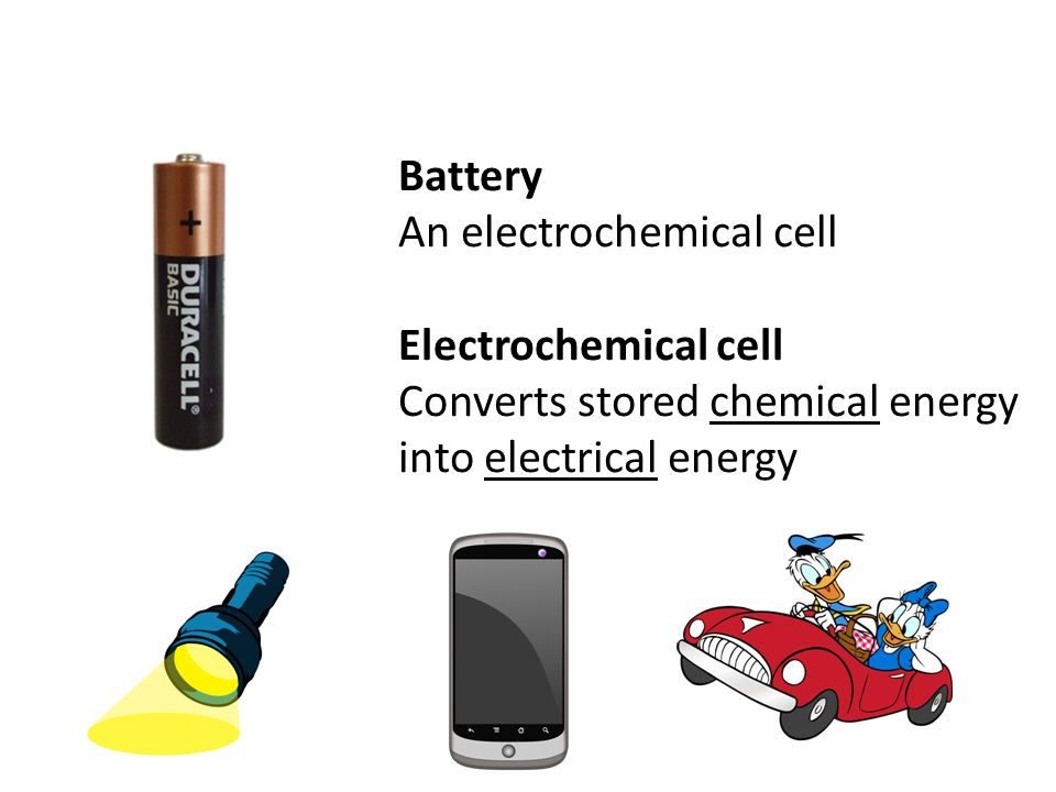 Battery An electrochemical cell Electrochemical cell Converts stored chemical energy into electrical energy