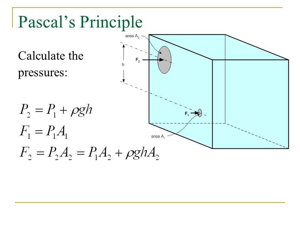 Pascal's Principle Calculate the pressures: