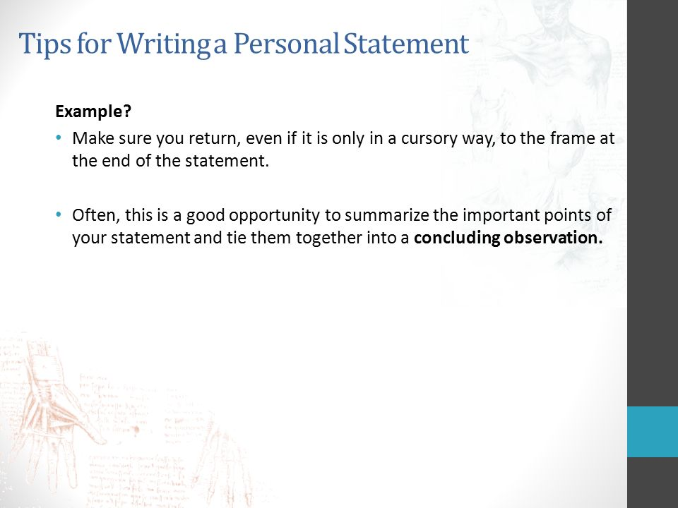 End personal statement