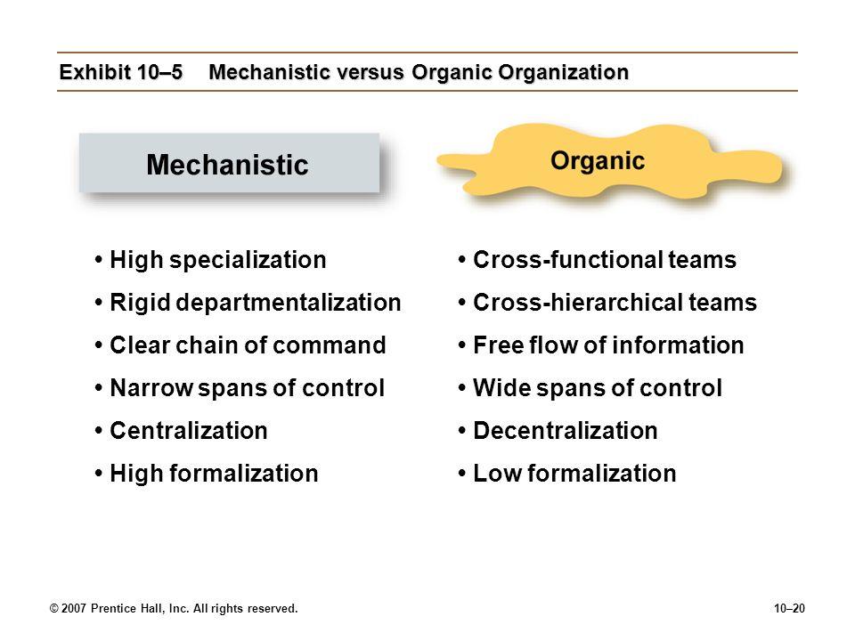 © 2007 Prentice Hall, Inc. All rights reserved.10–20 Exhibit 10–5Mechanistic versus Organic Organization High specialization Rigid departmentalization