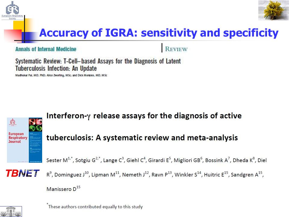 Accuracy of IGRA: sensitivity and specificity