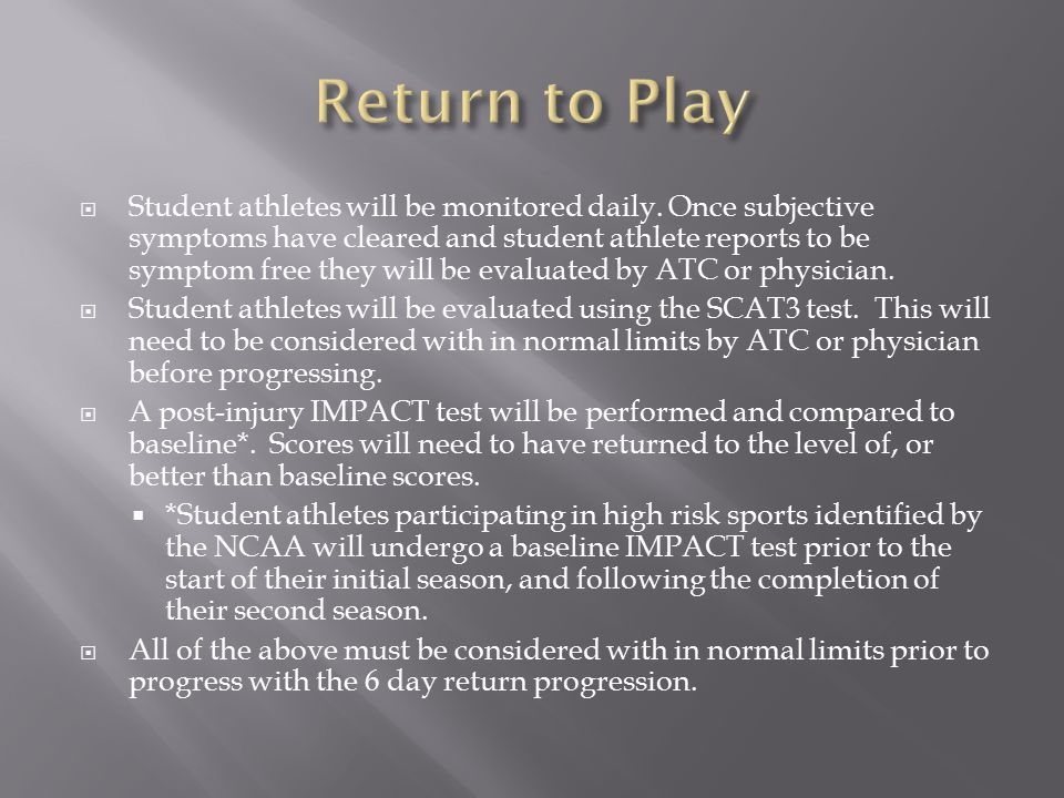 Student athletes will be monitored daily.