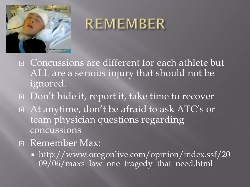 Concussions are different for each athlete but ALL are a serious injury that should not be ignored.