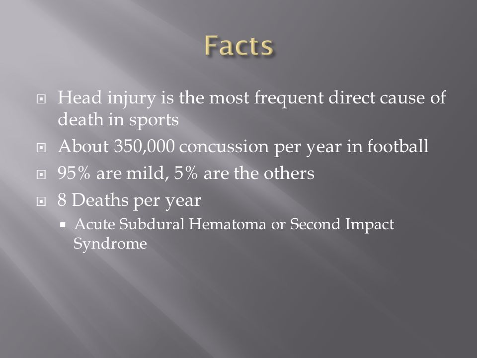  Head injury is the most frequent direct cause of death in sports  About 350,000 concussion per year in football  95% are mild, 5% are the others  8 Deaths per year  Acute Subdural Hematoma or Second Impact Syndrome