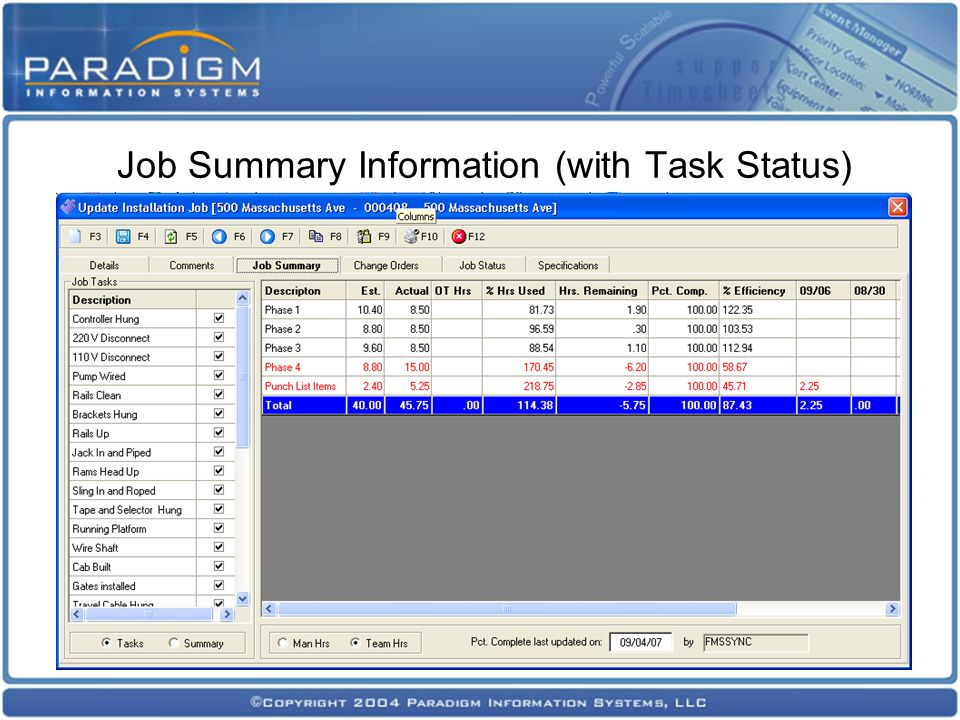 Job Summary Information (with Task Status)