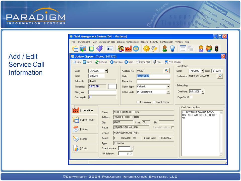 Add / Edit Service Call Information