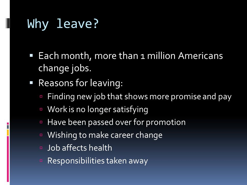 reasons for leaving jobs