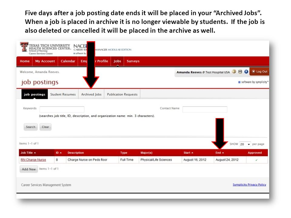 Five days after a job posting date ends it will be placed in your Archived Jobs .