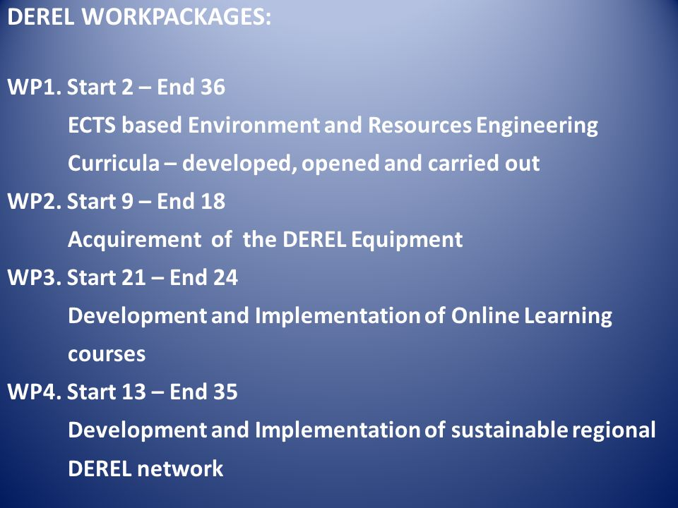 DEREL WORKPACKAGES: WP1.