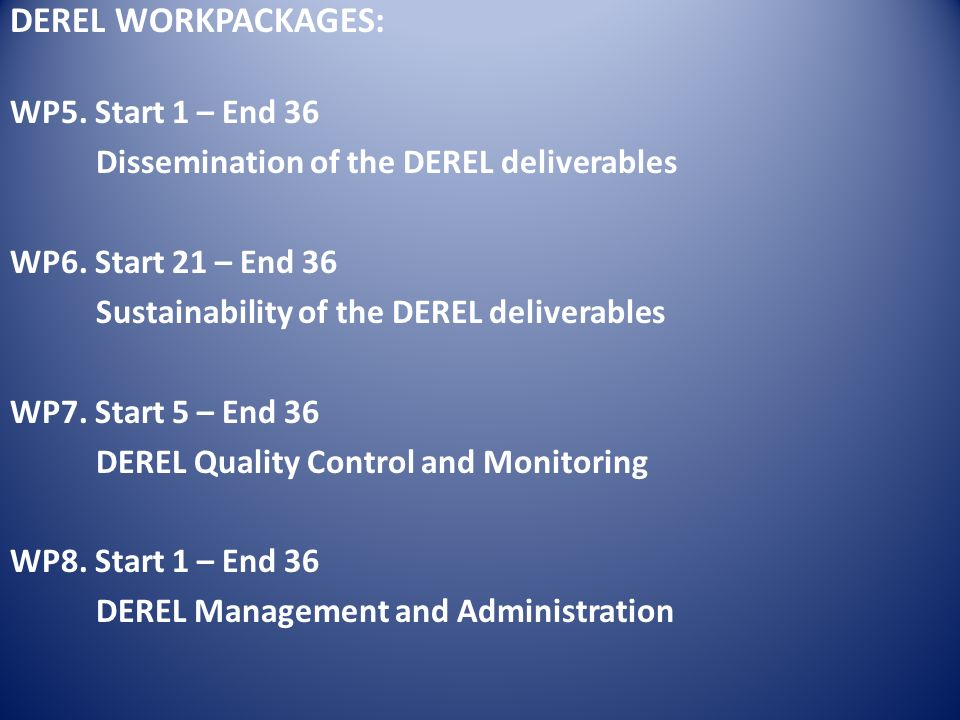 DEREL WORKPACKAGES: WP5. Start 1 – End 36 Dissemination of the DEREL deliverables WP6.