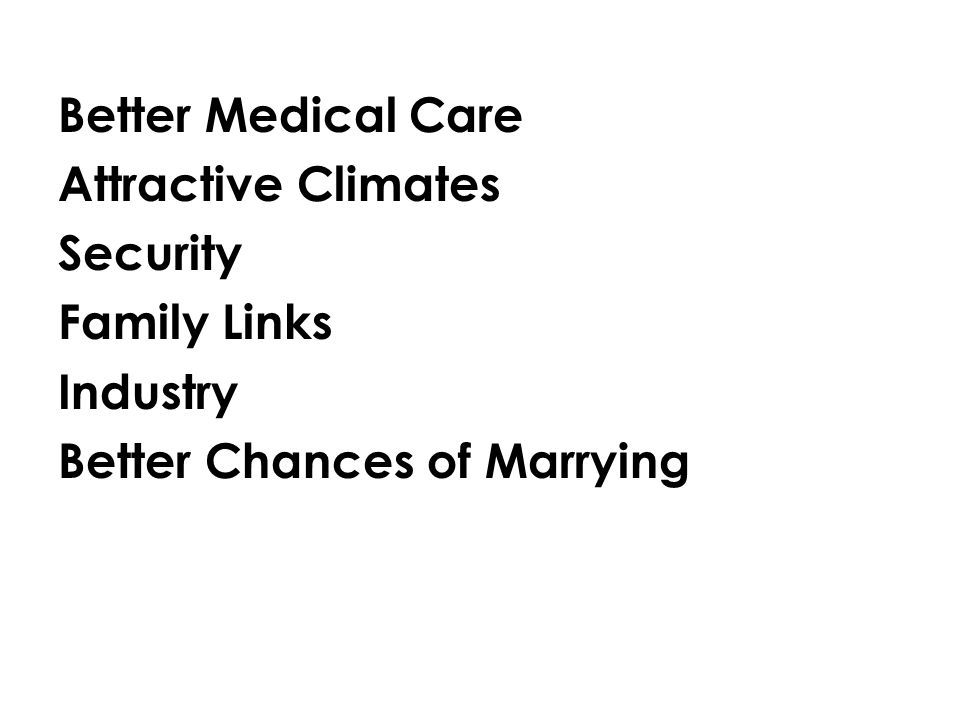 Better Medical Care Attractive Climates Security Family Links Industry Better Chances of Marrying