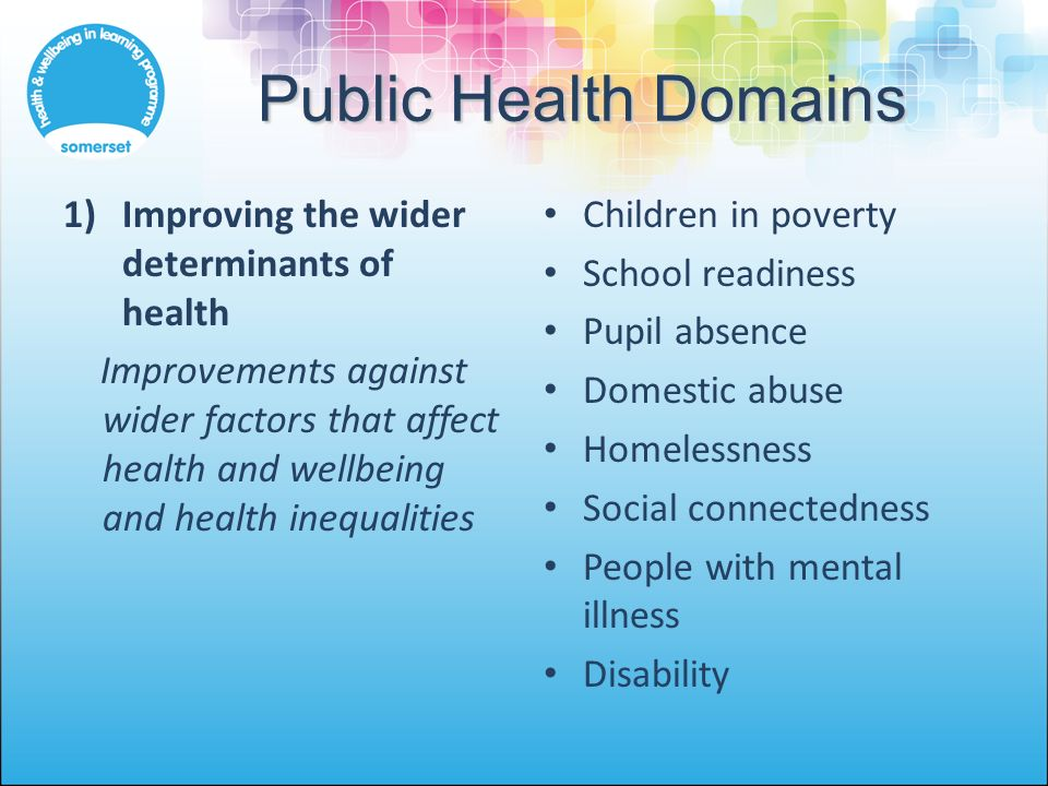 Public Health Domains 1)Improving the wider determinants of health Improvements against wider factors that affect health and wellbeing and health inequalities Children in poverty School readiness Pupil absence Domestic abuse Homelessness Social connectedness People with mental illness Disability