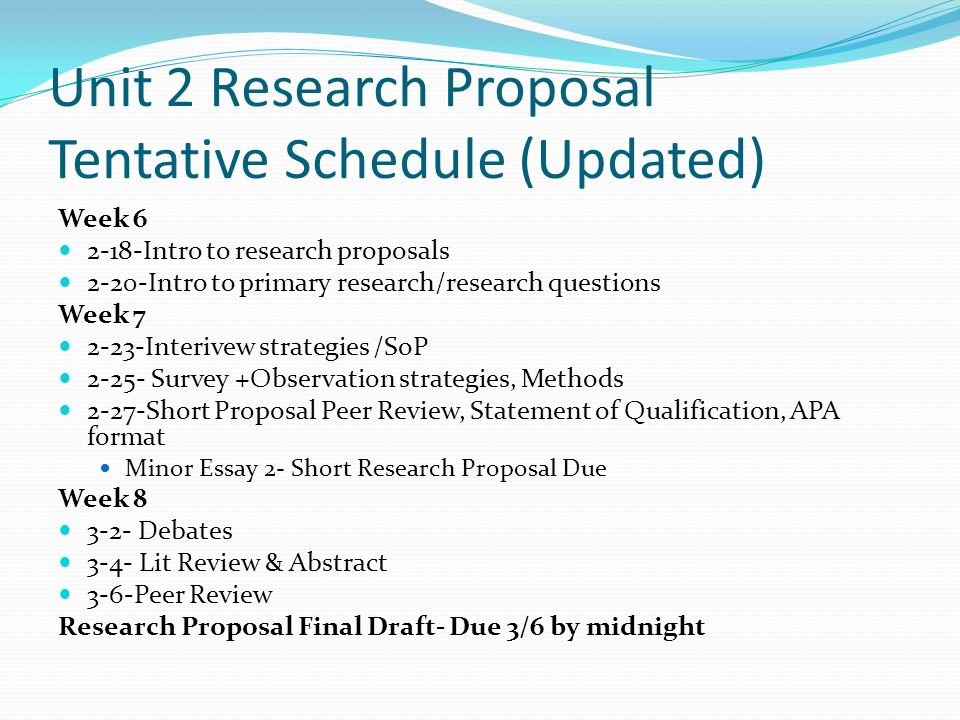 Thesis Proposals
